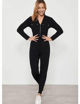 Black Knitted Zip Jumpsuit by Mint Velvet