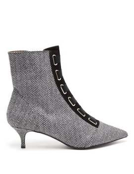 Quin Herringbone Ankle Boots by Tabitha Simmons