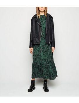 Green Leopard Print Tiered Smock Midi Dress by New Look