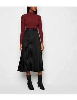Black Belted Pleated Satin Midi Skirt by New Look