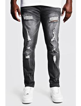 Big & Tall Skinny Fit Jeans All Over Rips by Boohoo