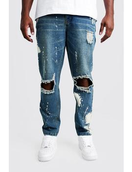 Big & Tall Slim Bleached Distressed Jeans by Boohoo