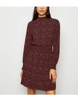 Black Abstract Spot Long Sleeve Mini Dress by New Look