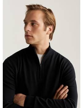 Zipper Cashmere Cotton Sweater by Mango