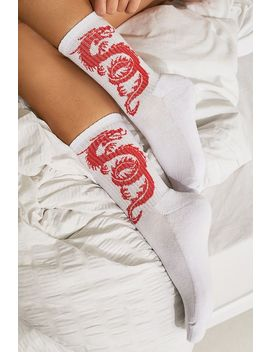 Uo Jacquard Dragon Socks by Urban Outfitters