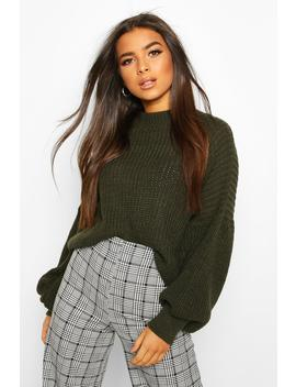 Oversized Sleeve Knitted Jumper by Boohoo