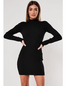 Vestido Corto De Cuello Perkins De Canalé En Negro by Missguided