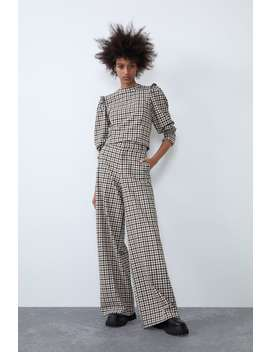 Checked Frilled Top by Zara