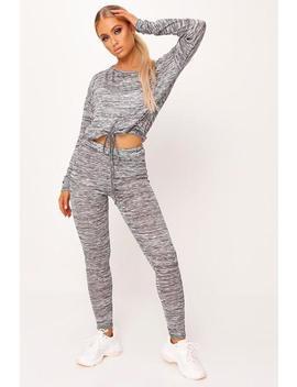 Grey Marl Soft Knit Long Sleeve Drawstring Loungewear Set by I Saw It First