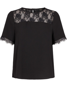 Onlmila Lux S/S Lace Top Solid Wvn by Only