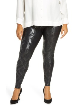 Brocade Print Faux Leather Leggings by Spanx®
