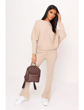 Stone Knitted Batwing Loungewear Set by I Saw It First