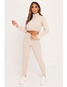 Stone High Neck Cropped Loungewear Set by I Saw It First
