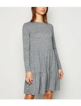 Grey Fine Knit Tiered Mini Smock Dress by New Look