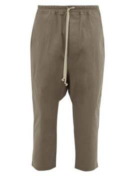 Drawstring Cotton Blend Trousers by Rick Owens