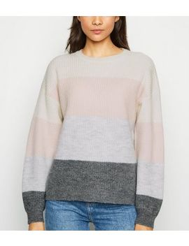 Light Grey Colour Block Jumper by New Look