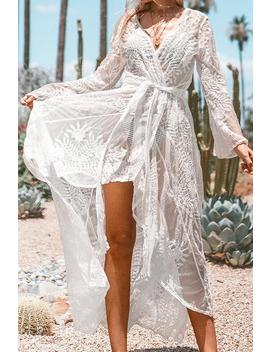 White Lace Maxi Wrap Cover Up by Cupshe