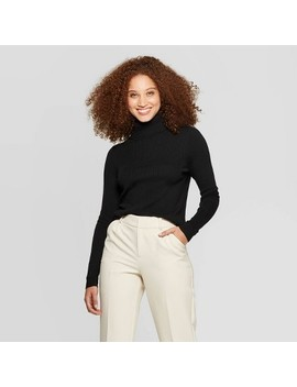 Women's Long Sleeve Rib Turtleneck Sweater   A New Day™ by A New Day