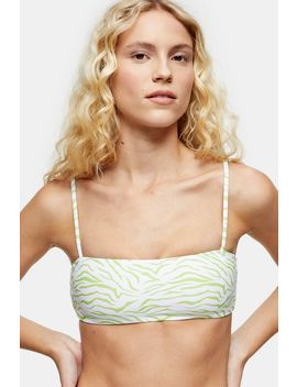 **Mink Pink Lime Tiger Bikini Bandeau Top by Topshop