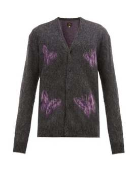 Butterfly Jacquard Mohair Blend Cardigan by Needles