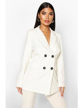 Petite Longline Double Breasted Blazer by Boohoo