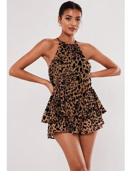 Brown Leopard Print Halterneck Playsuit by Missguided
