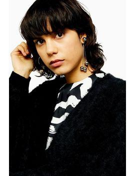 Idol Knitted Black Eyelash Cardigan by Topshop