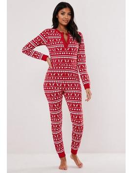 Red Fairisle Button Loungewear Jumpsuit by Missguided