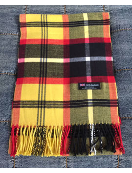 100% Cashmere Scarf Yellow Red Black Check Plaid Made In Scotland Soft Warm New by Made In Scotland