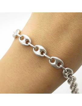 "Italy 925 Sterling Silver Wide Hollow Anchor Mainer Link Bracelet 6 3/4"" by Etsy"