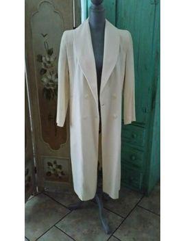 Forecaster Of Boston, 100% Wool, Ivory Colored, 4 Button, Lined, Long Coat, 4 by Forecaster Of Boston