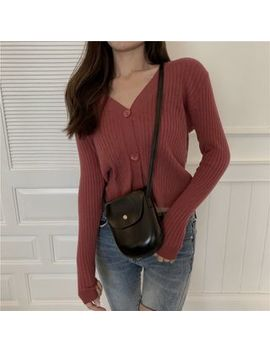 Zepto   Long Sleeve Buttoned Ribbed Cropped Knit Top by Zepto