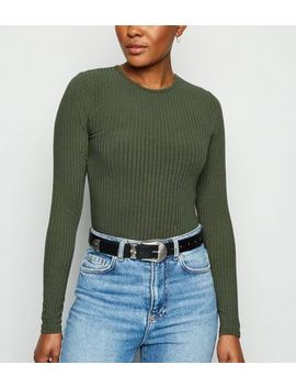 Khaki Ribbed Long Sleeve Bodysuit by New Look
