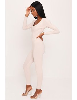 Sand Ribbed Bust Detail Long Sleeve Bodysuit by I Saw It First