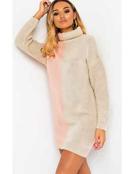 Colleen Knitted Two Tone Jumper Dress In Pink by Ikrush