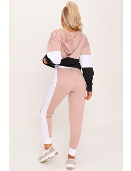 Dusky Pink Colour Block Skinny Joggers by I Saw It First