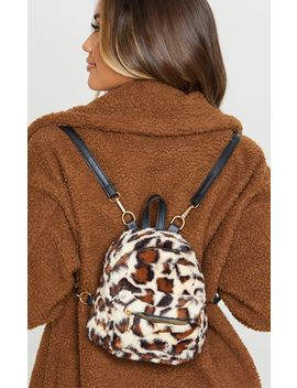 Leopard  Faux Fur Mini Back Pack by Prettylittlething