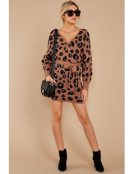 Putting It Wildly Mocha Brown Leopard Print Sweater Dress by Petal Roz