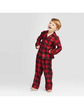 Kids' Holiday Buffalo Check Pajama Set   Wondershop™ Red by Shop Collections
