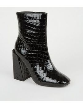 Black Faux Croc Flared Block Heel Boots by New Look