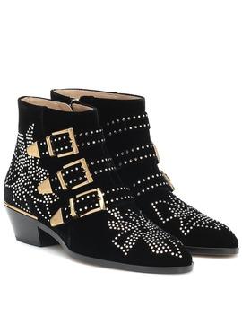 Susanna Short Velvet Ankle Boots by Chloé