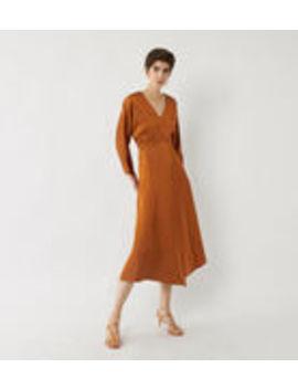Satin V Neck Midi Dress by Warehouse