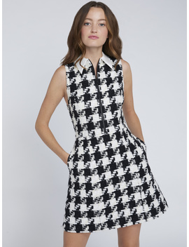Ellis Houndstooth Mini Dress by Alice And Olivia