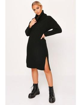 Black Knitted Roll Neck Midi Dress by I Saw It First