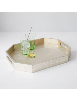 Geo Lacquer Tray, Silver by West Elm