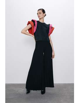 Finely Pleated Palazzo Trousers by Zara