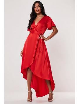 Petite Red Satin Wrap Ruffle Asymmetric Midi Dress by Missguided
