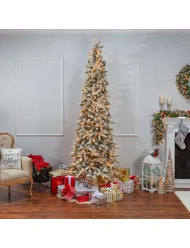 9' Green Pine Artificial Christmas Tree With 650 Clear & White Lights With Flocked And Stand by The Holiday Aisle