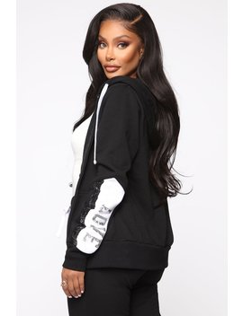 Repeat My Love Sequin Zip Up Hoodie   Black by Fashion Nova