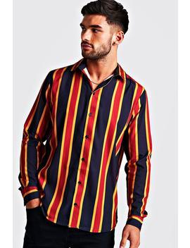 Navy & Gold Long Sleeve Stripe Shirt by Boohoo